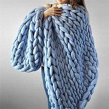 Úžitkový textil - Mirtillo merino deka GRANDE (Modrá) - 11238868_