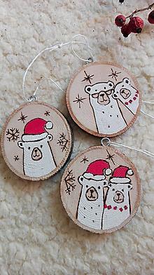 Dekorácie - Drevené vianočné ozdoby - sada Medvedie vianoce - 11241615_