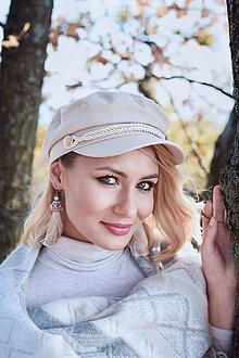 Náušnice - Dlhé strapcové náušnice béžovo-fialové / tassel earrings - 11241797_