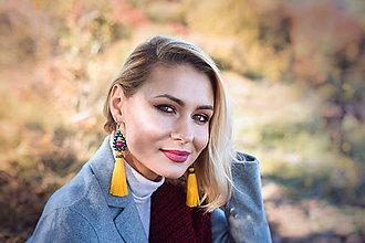 Náušnice - Farebné strapcové náušnice dlhé / tassel earrings - 11241835_