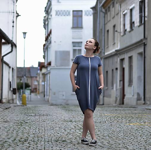 Šaty - White contrasting line (smoke blue) - 11240242_
