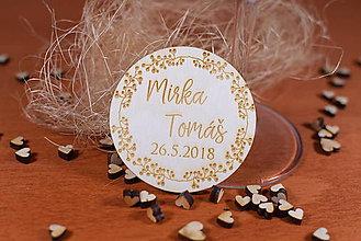 Darčeky pre svadobčanov - Drevená svadobná magnetka Ľudový motív 10 - 11240196_