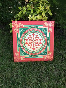 Obrazy - Sri yantra mandala obraz na plátne - červená - 11242777_