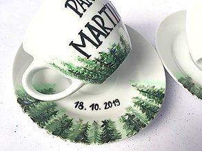 Nádoby - Svadobné šálky - Do hory do lesa :) (podľa svadobného oznámenia) - 11246005_