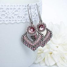 Náušnice - šité náušnice MARÍNA (ružová) - 11243066_