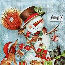 Papier - S1453 - Servítky - Vianoce, snehuliak, psík - 11243150_