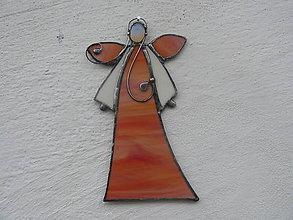 Dekorácie - Vitrážový anjelik s opalitom - 11243126_