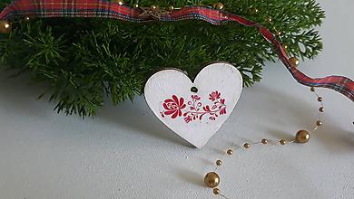 Dekorácie - Vianočná ozdoba, srdce - folk - 11243752_