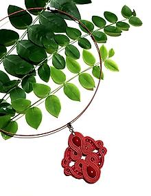 Náhrdelníky - Červené soutache náhrdelník na bežné nosenie - 11244727_