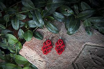 Náušnice - Červená Lenka - soutache earring - ručne šité šujtášové náušnice - 11244765_