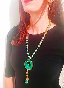 Náhrdelníky - Smaragdovo zelený náhrdelník s malachitom. - 11243670_