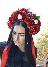 Ozdoby do vlasov - Kvetinová parta - čelenka - folklórna - červená - 11244655_