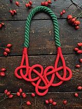 Náhrdelníky - Červené uzly na zeleném laně - 11242780_