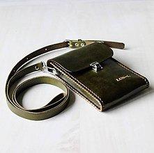 Tašky - Kožená kapsa na mobil *kaki green* - 11244195_