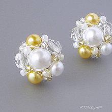 Náušnice - Náušničky ♥ WHITE & GOLD WEDDING ♥ - 11243204_