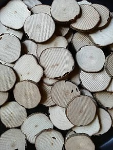 Materiál ručne robený - Drevené plátky nepravidelné cca 5 cm (s dierkami po škodcovi) - 11244249_