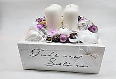 Dekorácie - Vintage adventná dekorácia fialova - 11242859_