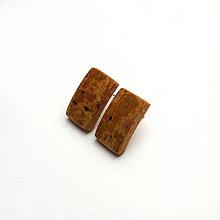 Náušnice - Drevené náušnice napichovacie - buková kôra - obdĺžničky - 11245374_