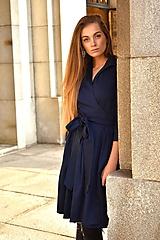 Šaty - Zavinovací šaty MONA, indigo modrá - 11247023_