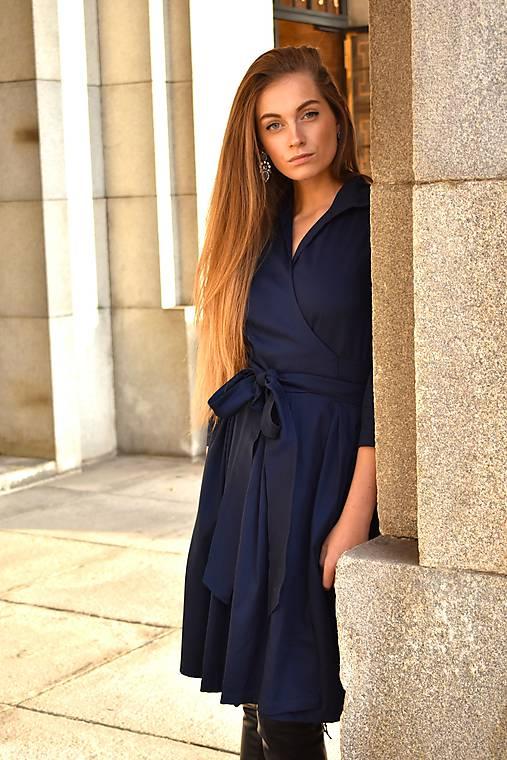 Zavinovací šaty MONA, indigo modrá