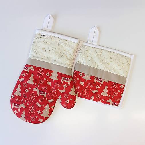 set rukavica+chňapka Vianoce červený