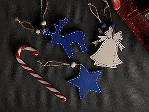 Dekorácie - Drevené vianočné ozdoby modré - sada 5ks - 11247903_