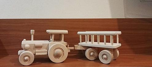 Hračky - Traktor  drevený s rebrinovým  vozom - 11248979_