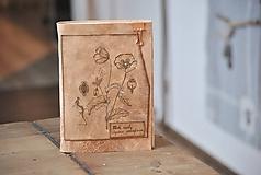 Papiernictvo - kožený zápisník - herbár PAPAVER - 11246439_