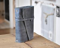 Papiernictvo - Kombinovaný kožený zápisník BLUE SKY - 11247516_