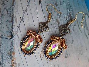 Náušnice - metalické zlaté gotické - 11248883_