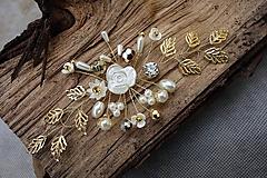 Ozdoby do vlasov - zlatá ozdoba do vlasov + ivory biela - 11247709_