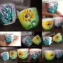 Nádoby - Ručne maľovaná šálka Tulipán a Slnečnica - 11246368_