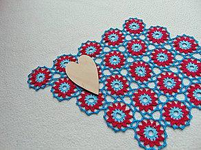 Úžitkový textil - Háčkovaná dečka vínovo-tyrkysová - 11247108_
