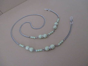 Iné šperky - Retiazka na okuliare - svetlozelená so štrasom - chirurgická oceľ - 11249075_