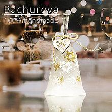 Kytice pre nevestu - Vianočný sklenený zvonček - 11249736_