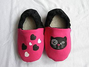 Topánočky - Papučky s mačkou - 11246514_