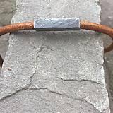 Náramky - Náramek z damascénské oceli a kůže - 11246625_