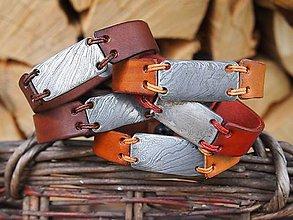 Náramky - Náramek z damascénské oceli a kůže - 11246608_
