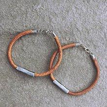 Náramky - Náramek z damascénské oceli a kůže - 11246624_