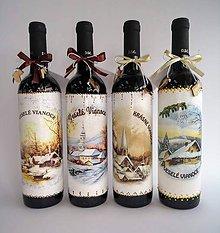 Nádoby - Vianočná fľaša - víno - 11248970_