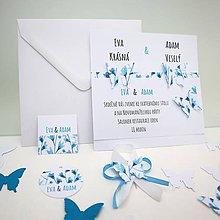 Papiernictvo - Motýle v modrej - oznámenie scrapbook - 11249207_