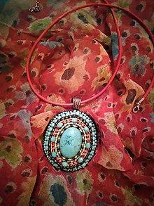 Náhrdelníky - Náhrdelník Tyrkys Maroko Ovál - korálková výšivka - 11247621_