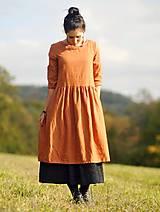 Šaty - Zrzavé šaty lněné - 11247332_