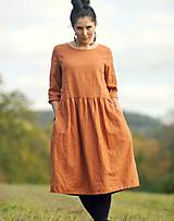 Šaty - Zrzavé šaty lněné - 11247339_