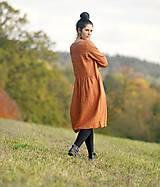 Šaty - Zrzavé šaty lněné - 11247342_