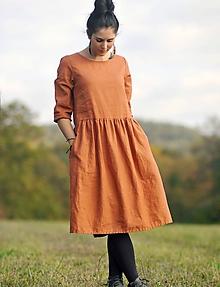 Šaty - Zrzavé šaty lněné - 11247341_