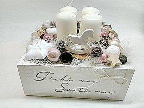 Dekorácie - Vintage adventná dekorácia púdrovoružová (Ružová) - 11247693_