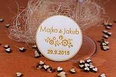 Darčeky pre svadobčanov - Drevená svadobná magnetka Ľudový motív 13 - 11247343_