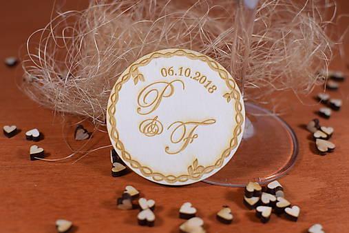 Drevená svadobná magnetka Ľudový motív 14