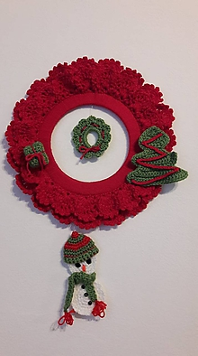 Dekorácie - Vianočný venček + 4 ozdoby - 11248719_